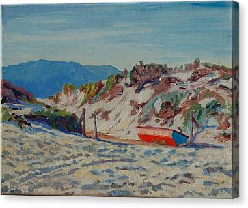 Canvas Print featuring the painting Hout Bay Beach With Table Mountain by Thomas Bertram POOLE