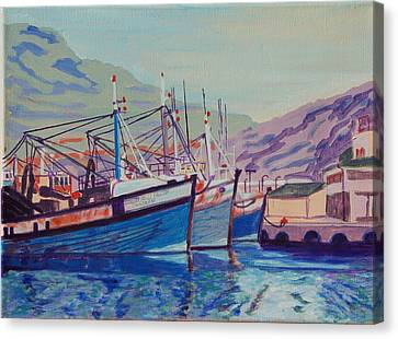 Canvas Print featuring the painting Hout Bay Fishing Boats by Thomas Bertram POOLE
