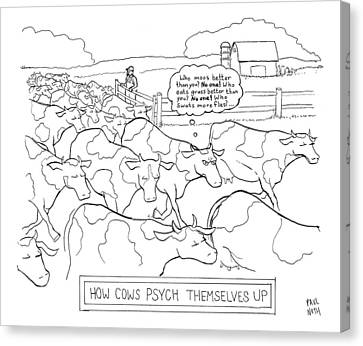Help Canvas Print - How Cows Psyche Themselves Up: A Cow Thinks Who by Paul Noth
