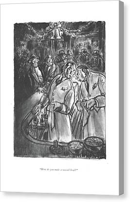 Booze Canvas Print - How Do You Make A Wassail Bowl? by Wallace Morgan