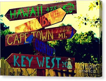 How Far Is It To Key West Canvas Print by Susanne Van Hulst
