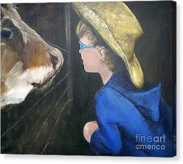 Canvas Print featuring the painting How Now...? by Mary Lynne Powers