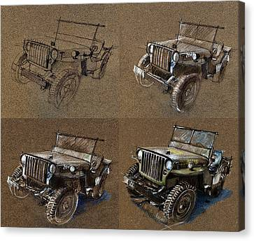 How To Draw A 1943 Willys Jeep Mb Car Canvas Print by Daliana Pacuraru