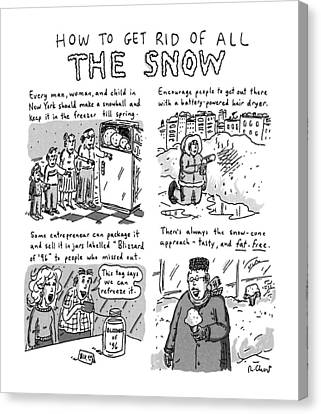 Blizzard Canvas Print - How To Get Rid Of All The Snow by Roz Chast