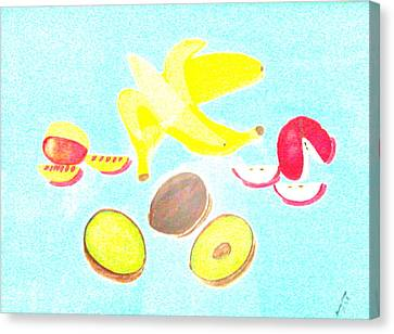 Canvas Print featuring the painting How To Peel Cut And Slice by Lorna Maza