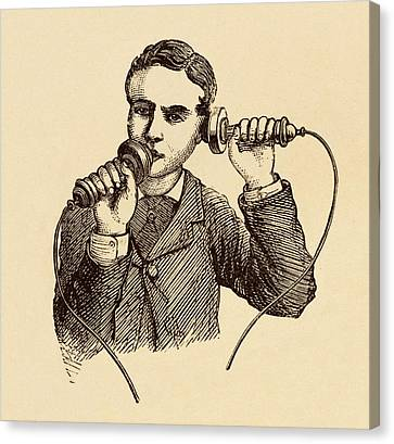 How To Use A Telephone Illustration. Canvas Print by David Parker