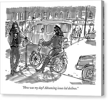 Gangs Canvas Print - How Was My Day? Advancing Issues Led Declines by Michael Crawford