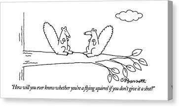 How Will You Ever Know Whether You're A Flying Canvas Print by Charles Barsotti