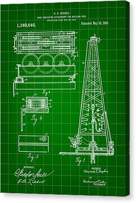 Workers Canvas Print - Howard Hughes Drilling Rig Patent 1914 - Green by Stephen Younts