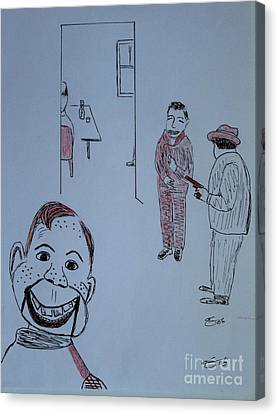Canvas Print featuring the drawing Howdy Lee And Me by Bill OConnor
