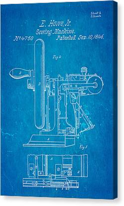 Quilter Canvas Print - Howe Sewing Machine Patent Art 1846 Blueprint by Ian Monk