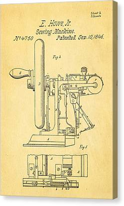 Sewing Machine Canvas Print - Howe Sewing Machine Patent Art 1846  by Ian Monk