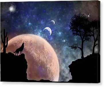 Howling At The Moon Canvas Print by Regina  Williams