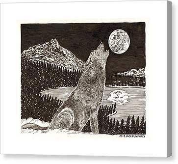 I Am Not Canvas Print - Howling Coyote Full Moon Ho0wling by Jack Pumphrey