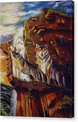 Canvas Print featuring the painting Howling For The Nightlife  by Thomas J Herring
