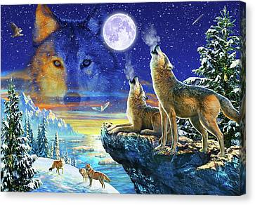 Howling Wolves Canvas Print by Adrian Chesterman