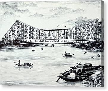Howrah Bridge - Kolkata Canvas Print by Somaditya Das