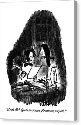 Raven Canvas Print - How's This?  'quoth The Raven by Robert Weber