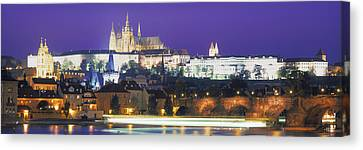 Hradcany Castle And Charles Bridge Canvas Print by Panoramic Images