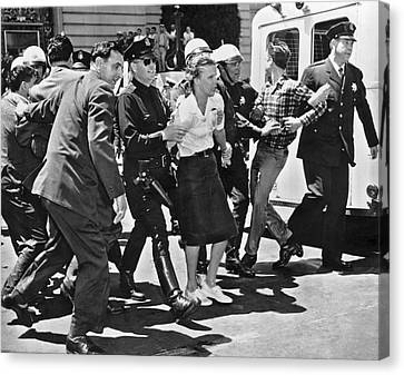 Huac Protesters Arrested In Sf Canvas Print by Underwood Archives