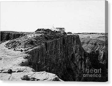 hualapai indian buffet cafe building built on the cliff face at guano point Grand Canyon west arizon Canvas Print by Joe Fox