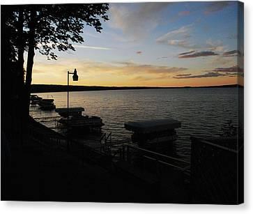 Hubbard Lake Sunset Canvas Print by Gary Wonning