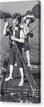 Huckleberry Finn And Tom Sawyer  Canvas Print by English School
