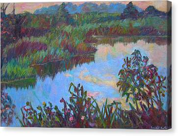 Huckleberry Line Trail Rain Pond Canvas Print by Kendall Kessler
