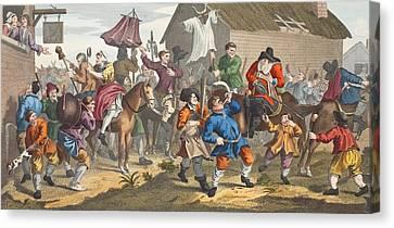 Hudibras Encounters The Skimmington Canvas Print by William Hogarth