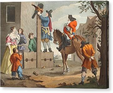 Hudibras Leading Crowdero In Triumph Canvas Print by William Hogarth