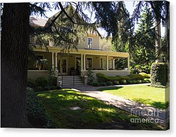 Napa Valley And Vineyards Canvas Print - Hudson House At Beringer Winery St Helena Napa California Dsc1715 by Wingsdomain Art and Photography