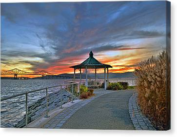Hudson River Fiery Sky Canvas Print