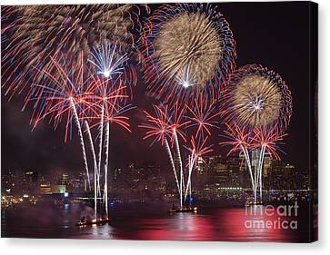 Hudson River Fireworks Viii Canvas Print by Clarence Holmes