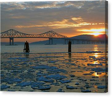 Hudson River Icey Sunset Canvas Print