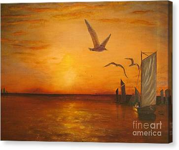 Hudson River Sunset  Canvas Print by Anthony Morretta