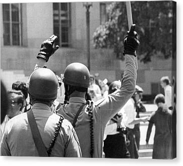 Huey Newton Rally In Sf Canvas Print by Underwood Archives Thornton