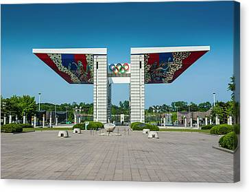 Huge Gate At The Olympic Park Seoul Canvas Print by Michael Runkel