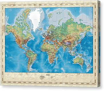 Canvas Print featuring the digital art Huge Hi Res Mercator Projection Physical And Political Relief World Map by Serge Averbukh