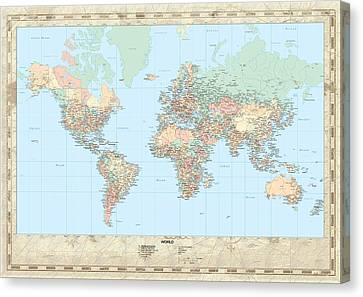 Huge Hi Res Mercator Projection Political World Map   Canvas Print