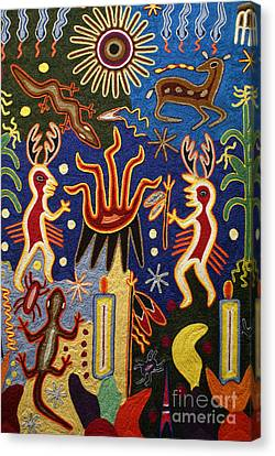 Huichol Yarn Painting Mexico Canvas Print by John  Mitchell