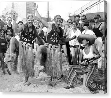 Hula Dancing Lifeguards In Long Beach Canvas Print by -