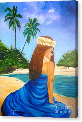 Canvas Print featuring the painting Hula Girl On The Beach by Jenny Lee
