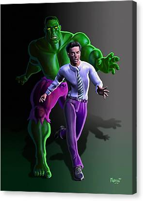 Canvas Print featuring the painting Hulk - Bruce Alter Ego by Anthony Mwangi