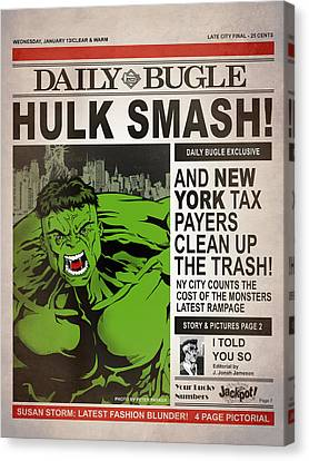 Parker Canvas Print - Hulk Smash - Daily Bugle by Mark Rogan