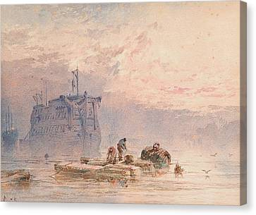 Hulks At Anchor Canvas Print by William Cook of Plymouth