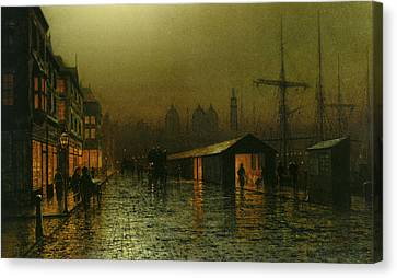 Canvas Print featuring the painting Hull Docks By Night   by Arthur Grimshaw
