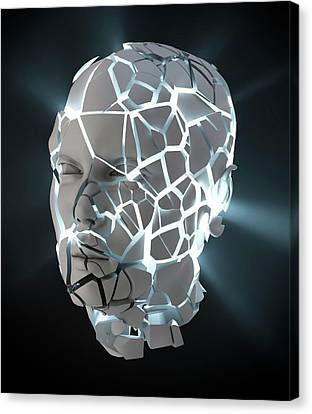 Human Head With Cracks Canvas Print