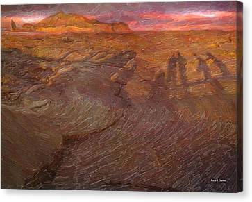Human Shadows Of Lava Island In Galapagos Canvas Print by Angela Stanton