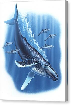 Humback And Dolphins Canvas Print by JQ Licensing