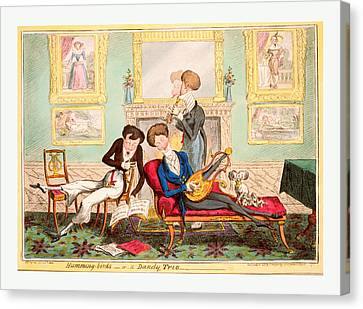 Humming Birds Or A Dandy Trio, Cruikshank, George Canvas Print by Litz Collection